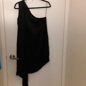 EUC- black silky open shoulder Zara mini dress